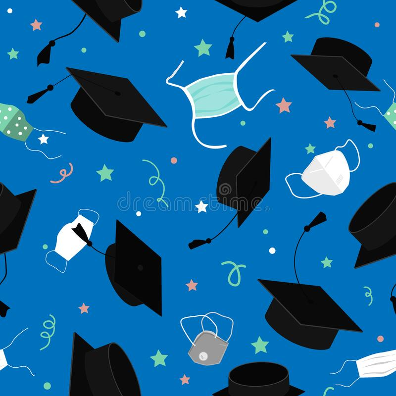 Free Funny Graduation Seamless Pattern With Bonnets And Medical Mask In The Air. Flying Masks And Grads Hats, Quarantine 2020 Royalty Free Stock Images - 182620109