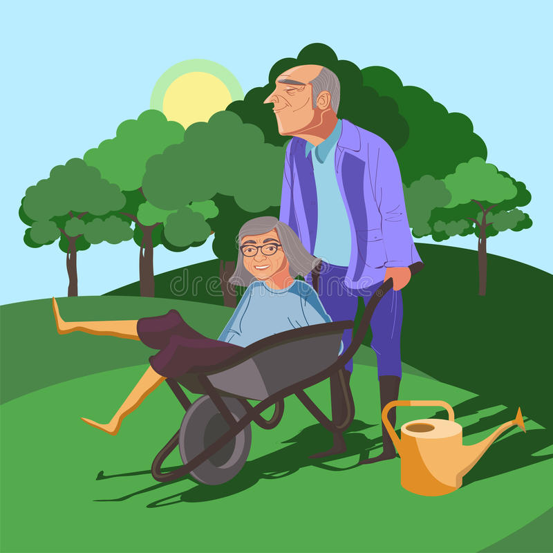 Funny grandparents vector illustration