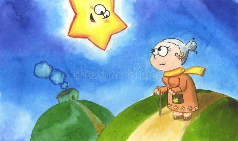 funny granny star royaltyfri illustrationer