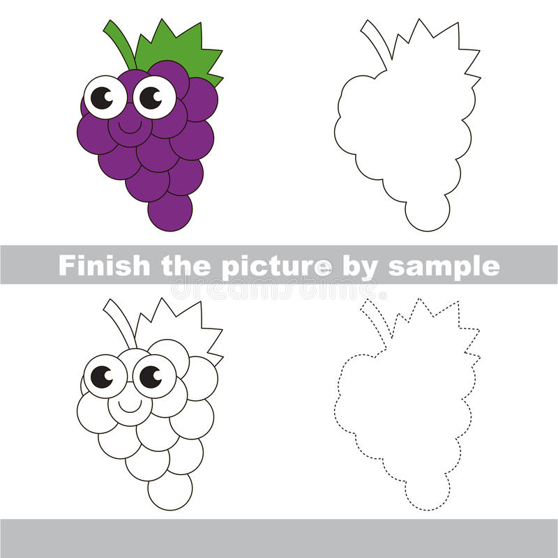funny grapes drawing worksheet stock vector illustration of finish baby 75234460. Black Bedroom Furniture Sets. Home Design Ideas