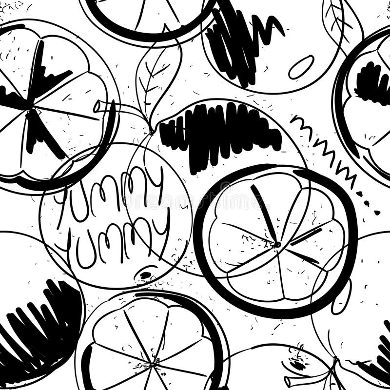 Funny Graphic Orange Fruit Seamless Pattern. Funny black and white cartoon seamless pattern of orange fruit. Graphic summer fresh fruit background stock illustration