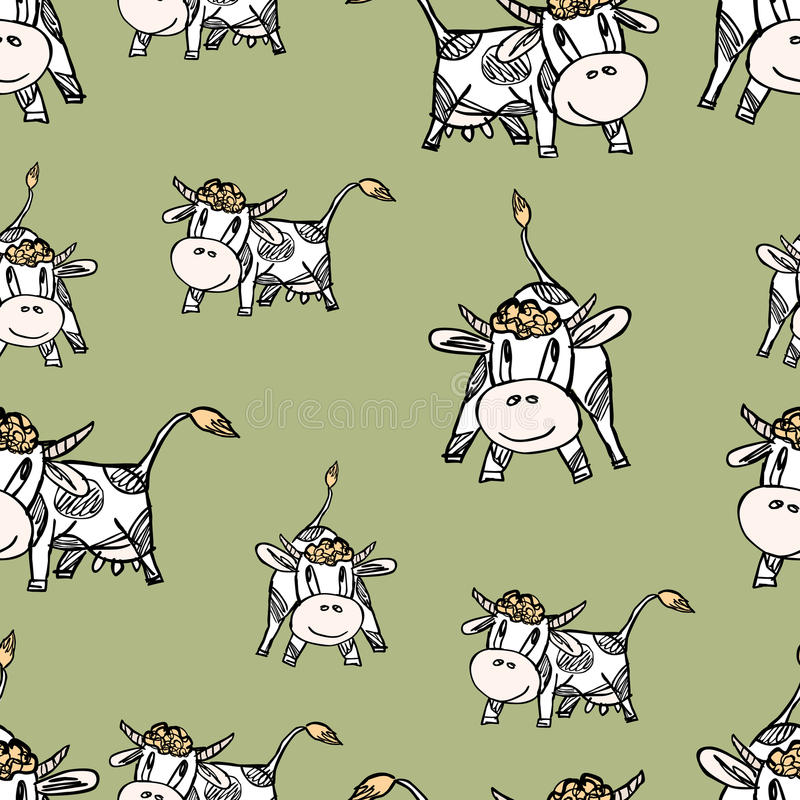 The funny grazing cows vector illustration
