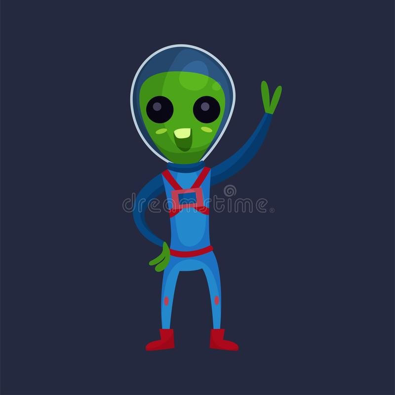 Funny green alien with big eyes wearing blue space suit waving his hand, alien positive character cartoon Illustration royalty free illustration