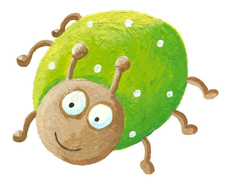 Funny green bug vector illustration