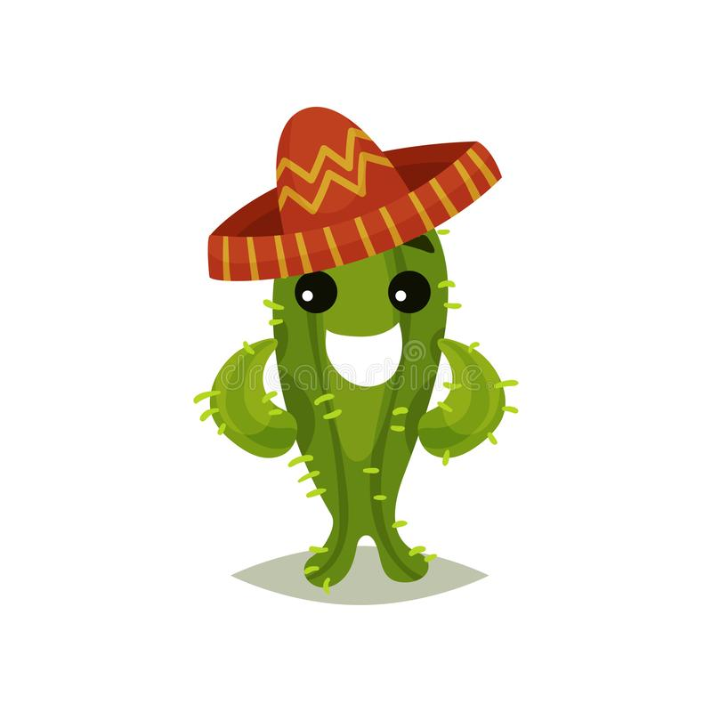 Funny green cactus in Mexican sombrero. Humanized succulent plant with happy face expression. Flat vector for sticker or royalty free illustration