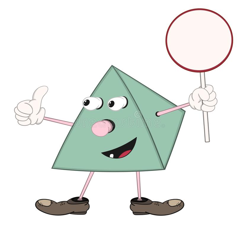 Funny green cartoon pyramid holds a round plate in his hand, smiles and shows an approval sign with his thumb stock illustration