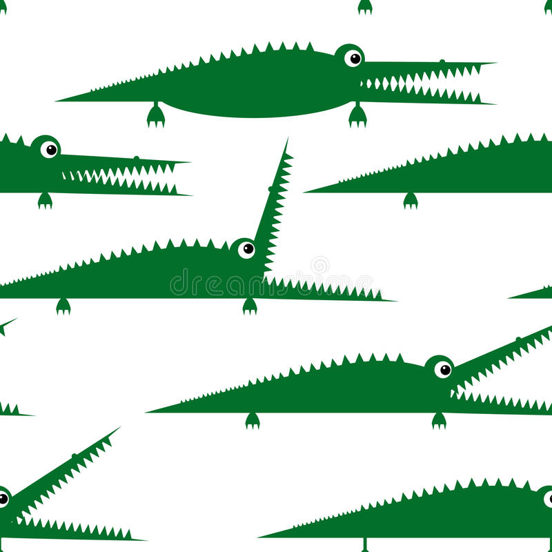 Funny Green Crocodile, Seamless Pattern For Your Royalty Free Stock Photos