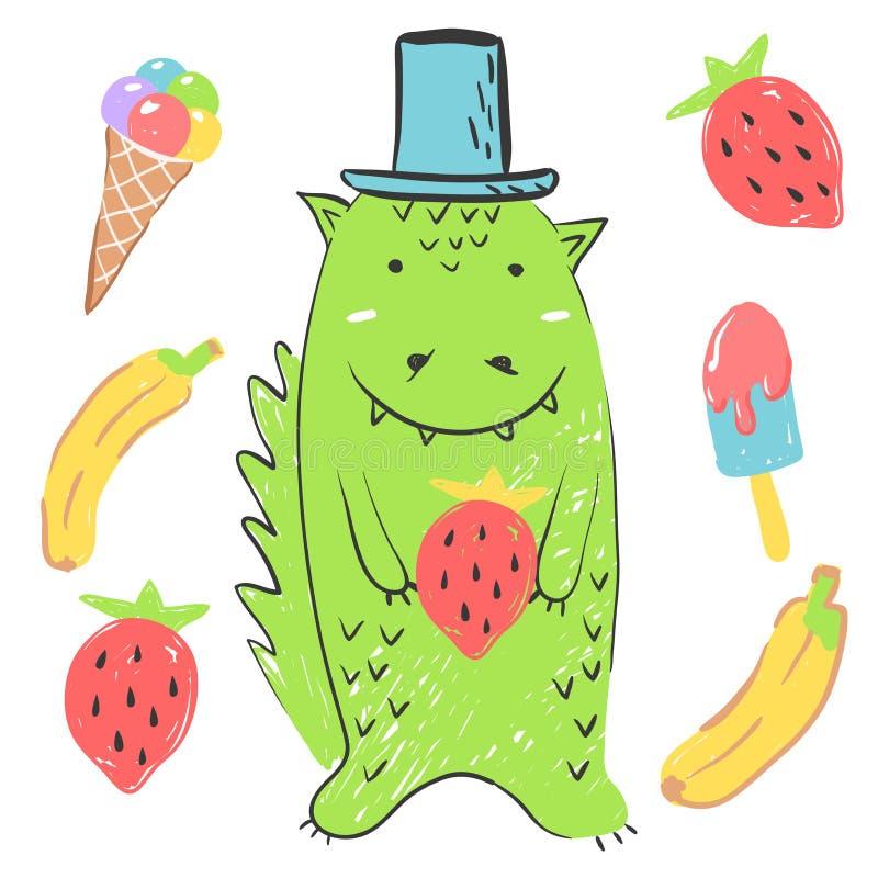 Funny green dinosaur. Illustration about animals for children design. Cartoon style vector illustration
