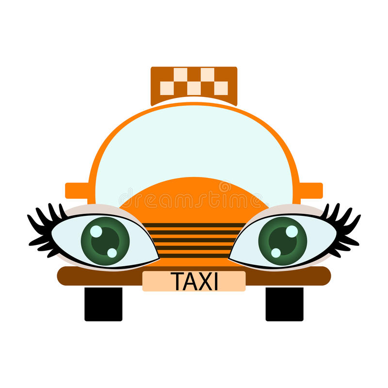 Funny green-eyed taxi stock illustration