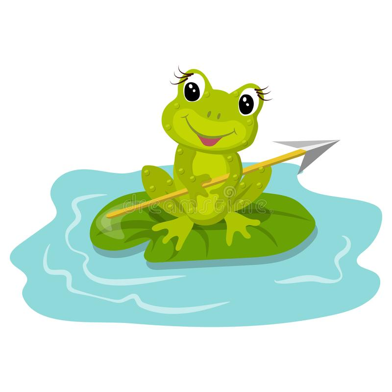 Funny green frog in cartoon style. royalty free stock image