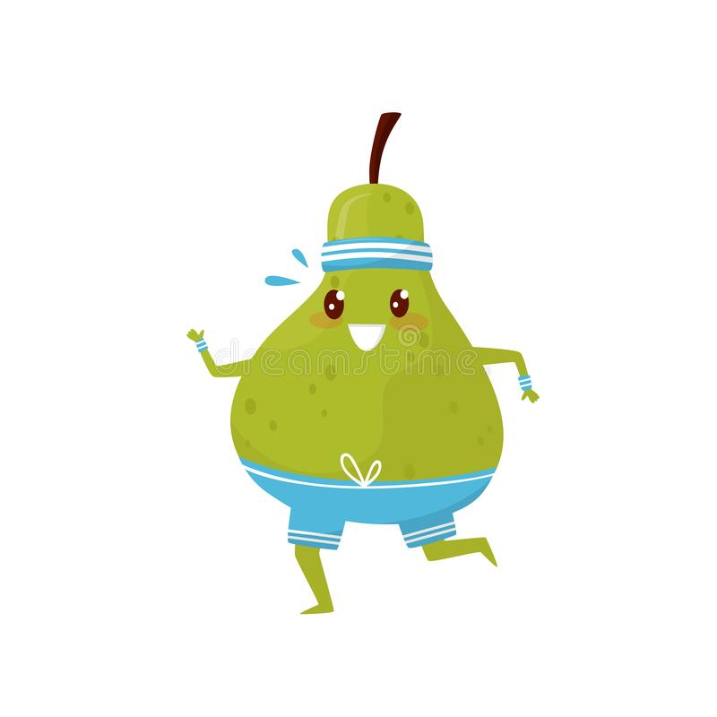 Funny green pear running, sportive fruit cartoon character doing fitness exercise vector Illustration on a white. Funny green pear running, sportive fruit vector illustration