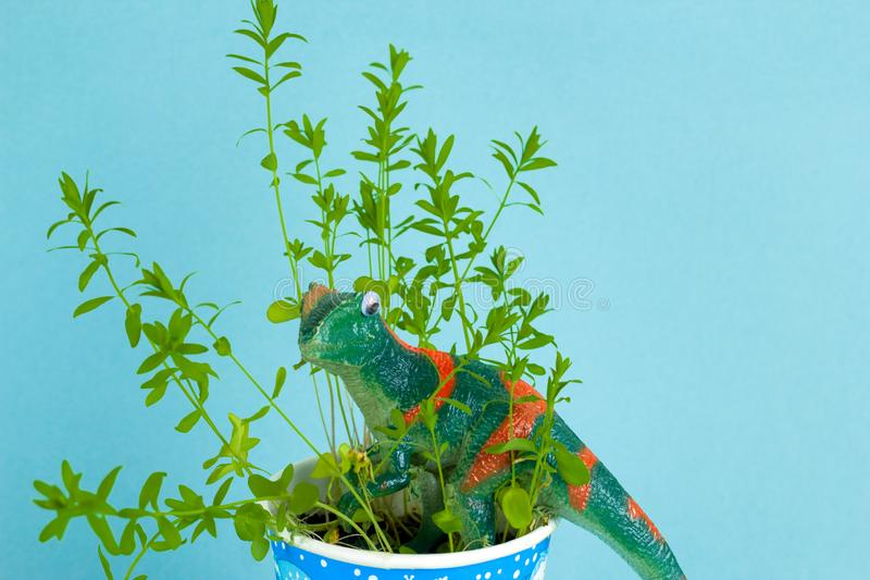 Green plastic dinosaur between green plant leaves on pastel blue background stock photography