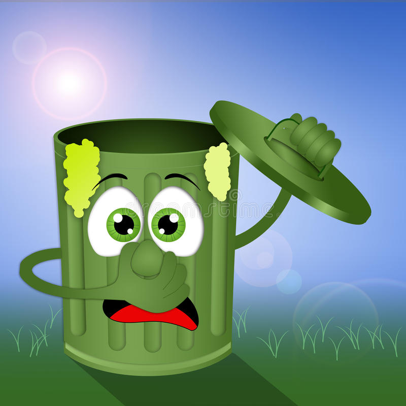 Funny green stinky garbage bin stock illustration