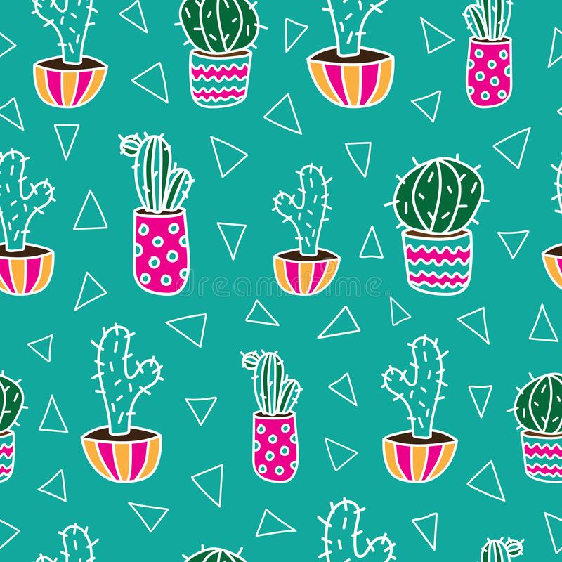 Funny green vector pattern with colorful cactuses stock photography