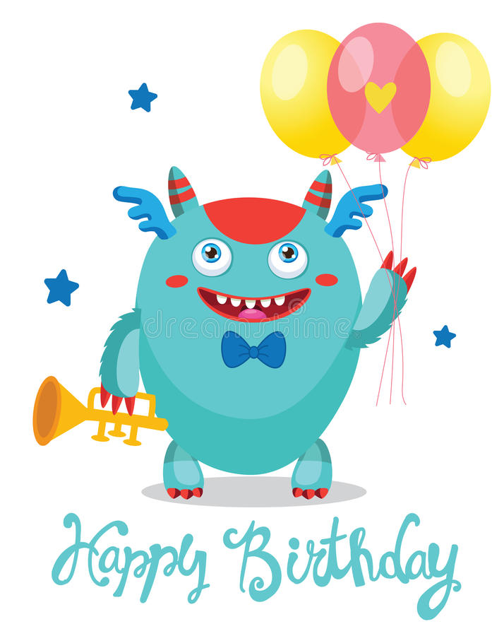 Funny Greeting Card. Birthday Theme. Monsters University. Cute Monster With Color Balloons. stock photo