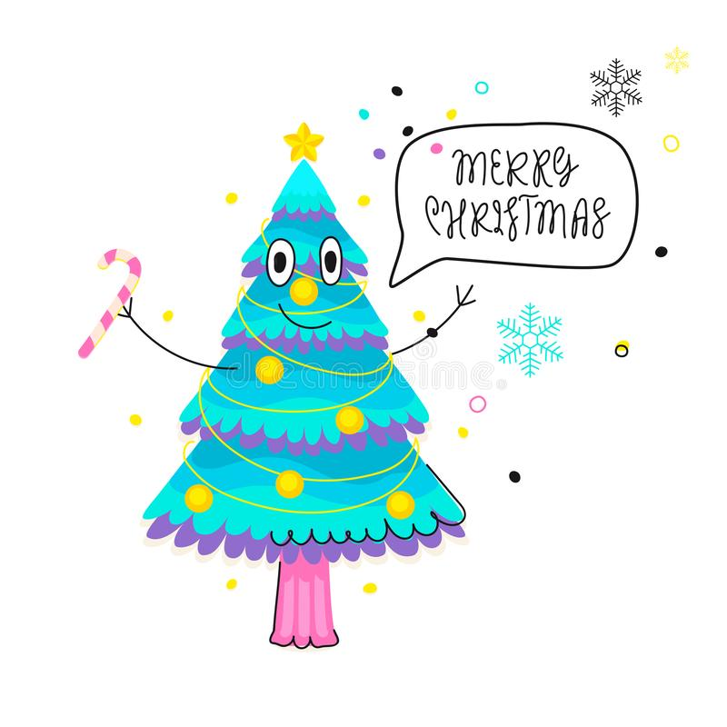 Funny greeting card with cartoon fir-tree and speech bubble vector illustration
