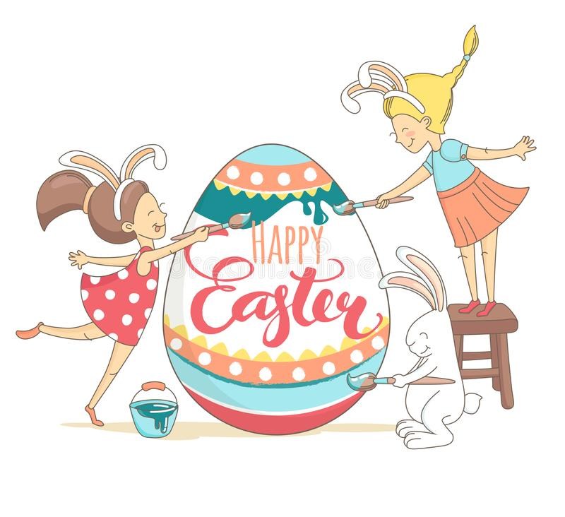 Funny greeting Happy Easter card girls white bunny painting egg vector illustration