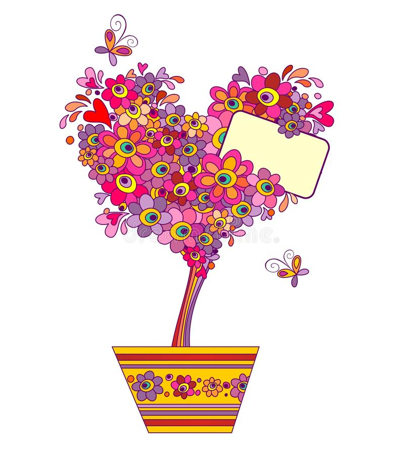 Funny greeting tree. With colorful flowers stock illustration