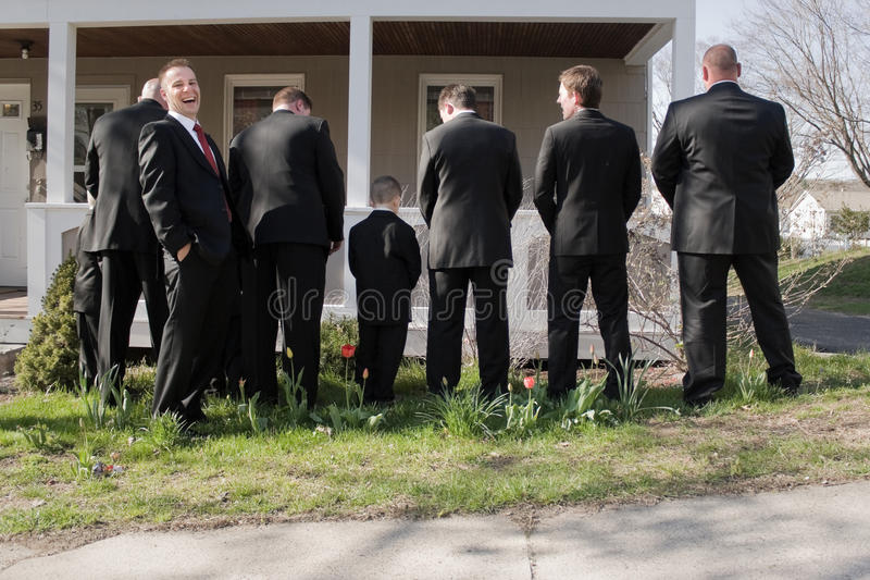 Funny Groomsmen stock photography