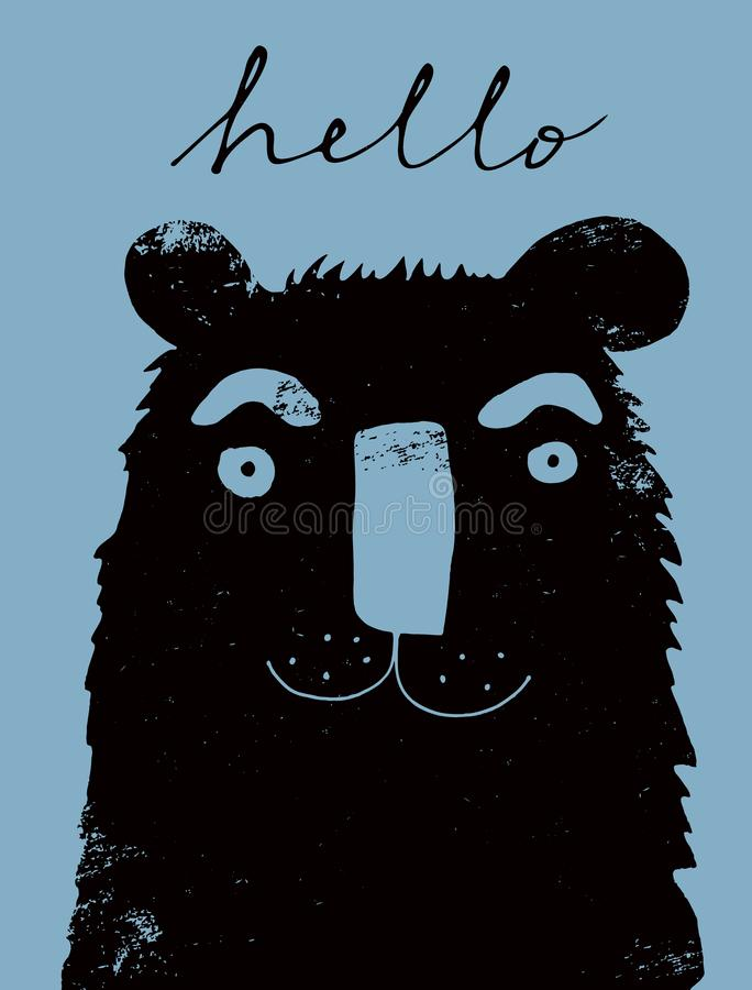 Funny Grunge Hand Drawn Bear Vector Illustration. royalty free stock image