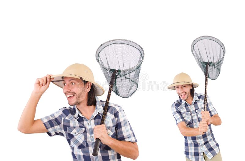 Funny guy with catching net on white royalty free stock photos