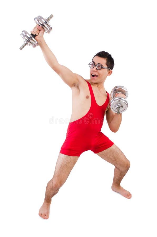 Download Funny guy with dumbbels stock image. Image of dumbbells - 40291717