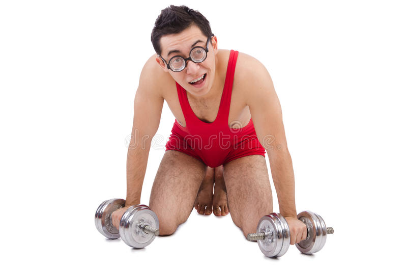 Download Funny guy with dumbbels stock image. Image of humour - 40450353