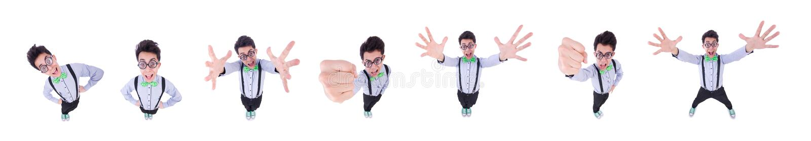 Funny guy isolated on the white background stock photo