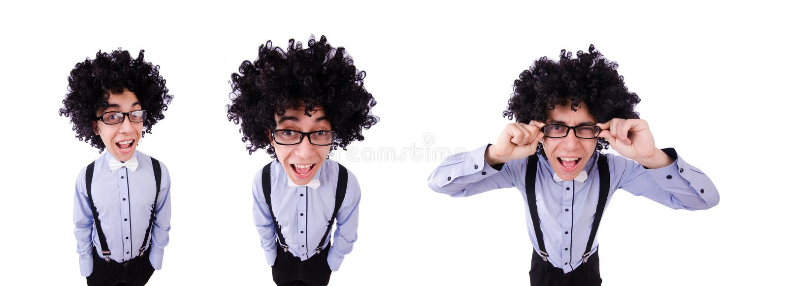 Funny guy isolated on the white background. The funny guy isolated on the white background stock photo