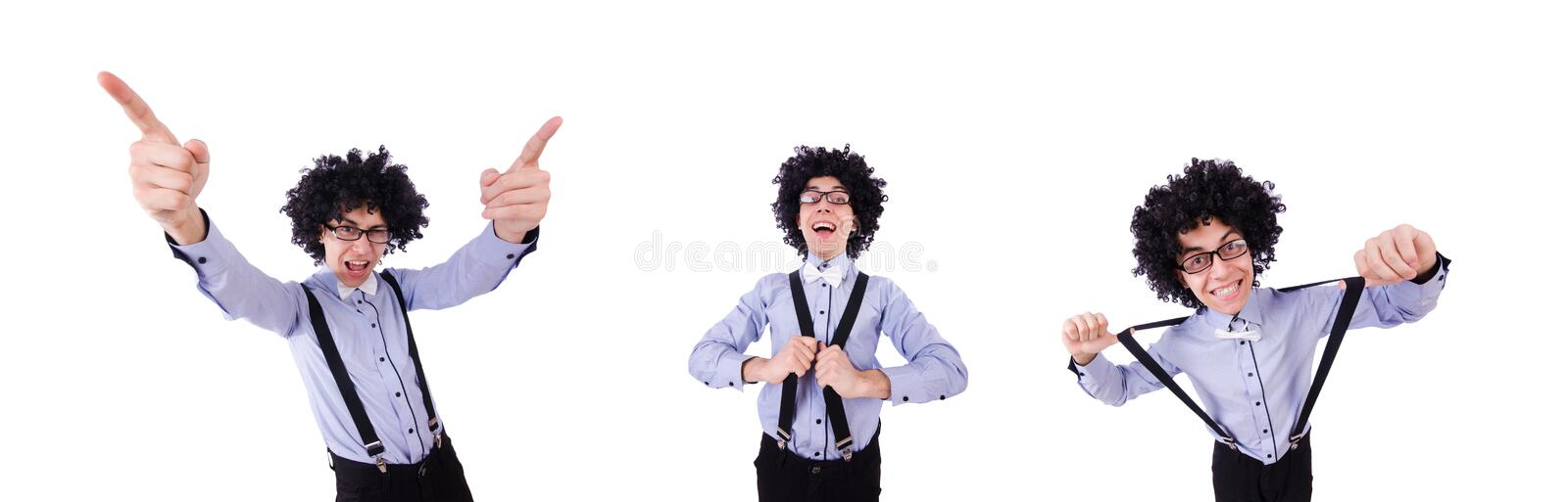 Funny guy isolated on the white background royalty free stock image