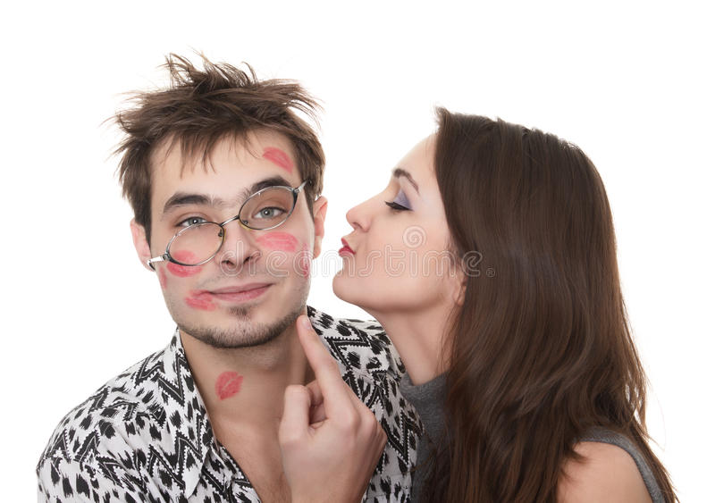 Funny guy nerdy and glamorous girl stock photos
