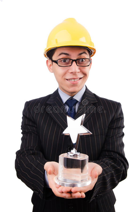 Funny guy with prize royalty free stock photography