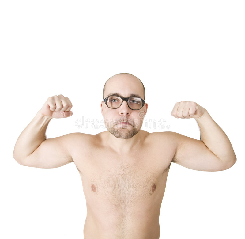 Funny guy showing his muscles. Over white background stock photography