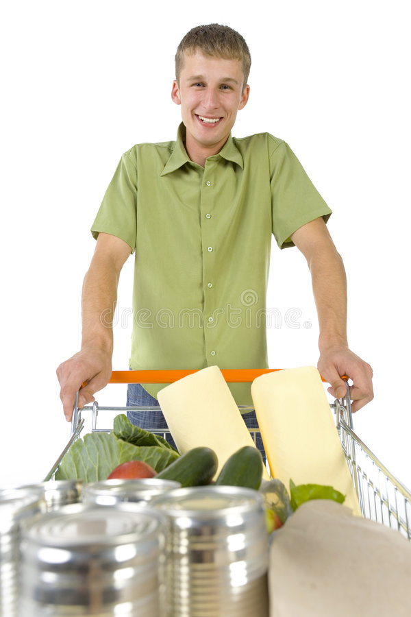 Download Funny guy with trolley stock image. Image of person, drive - 2917983