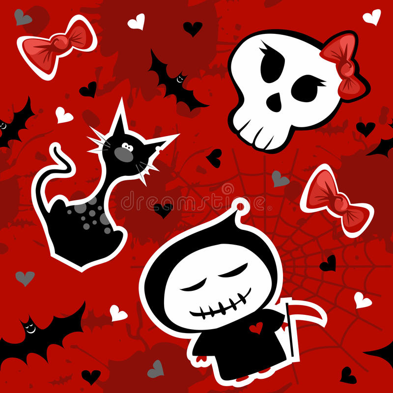 Download Funny Halloween Characters Seamless Pattern Stock Vector - Illustration of pattern, reaper: 21440804