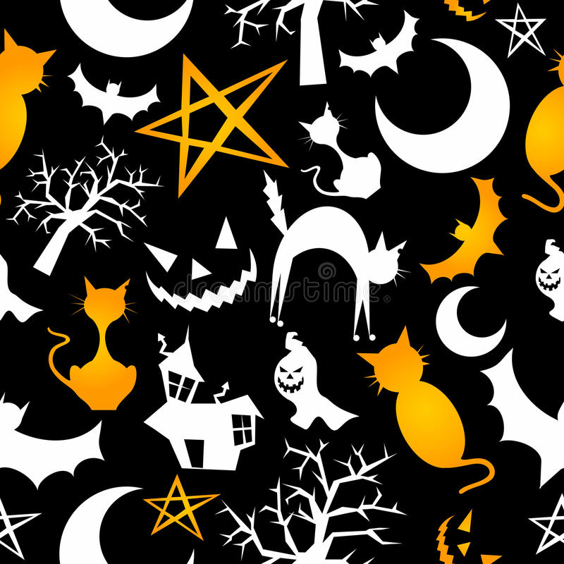 Funny halloween characters seamless pattern royalty free illustration