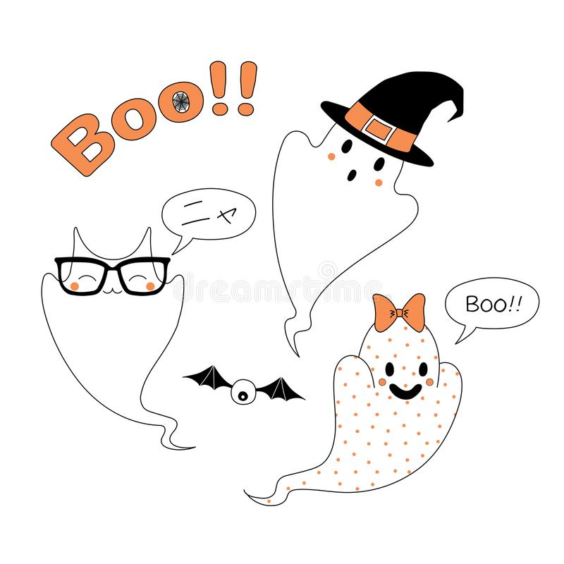 Download Funny Halloween Ghosts Illustration Stock Vector   Illustration:  101011721