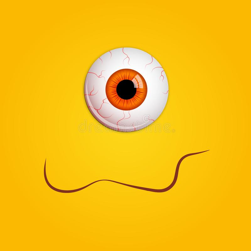 Funny Halloween greeting card monster orange eyes. Vector isolated illustration on yellow background royalty free illustration