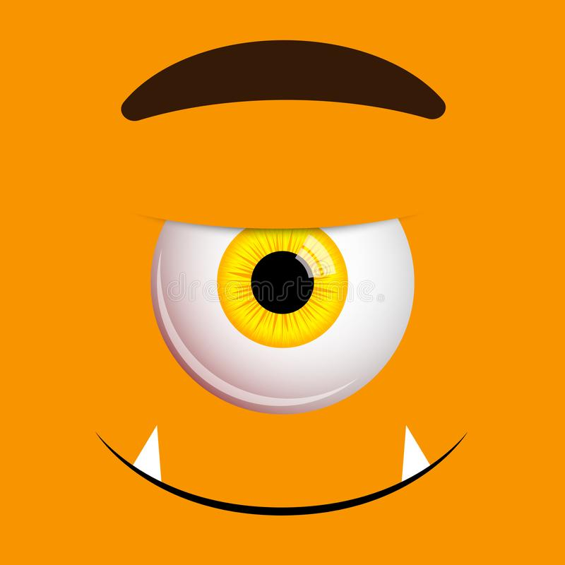 Funny Halloween greeting card monster yellow eyes and smile. Vector isolated illustration on orange background stock illustration
