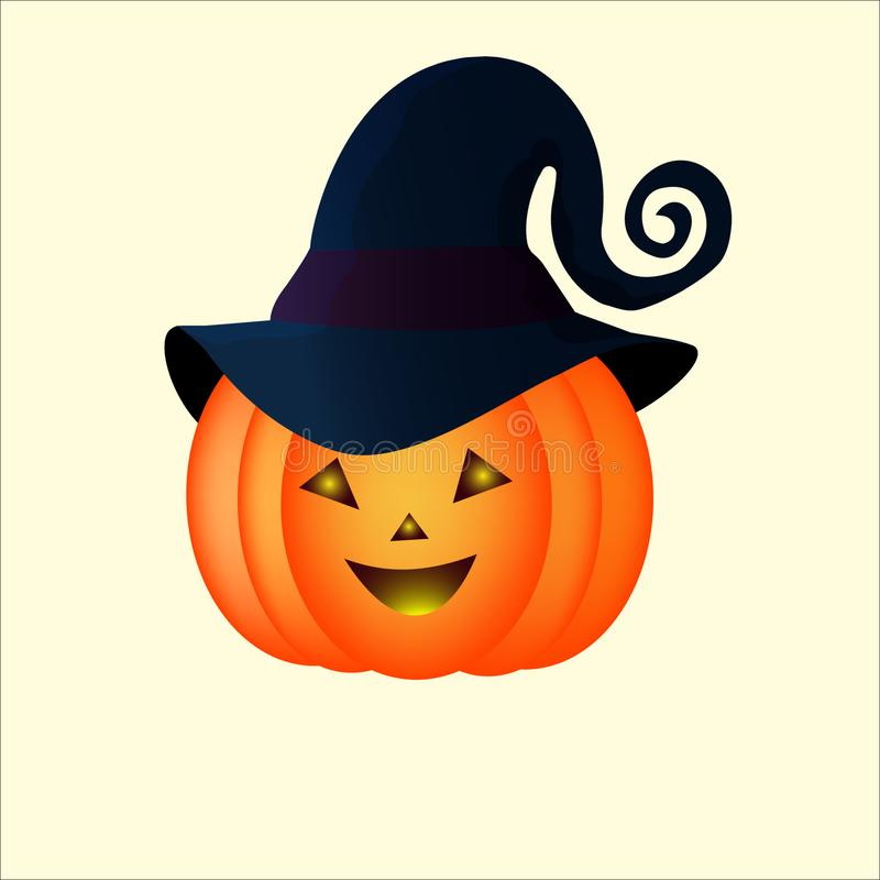 Funny halloween pumpkin in a blue hat stock photos