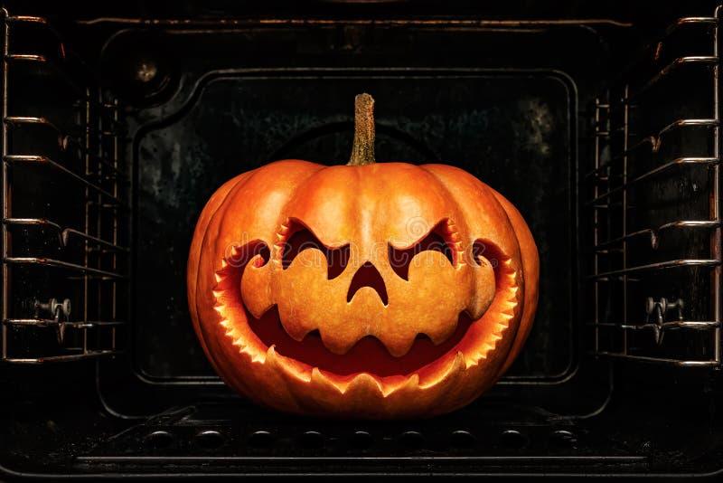 Funny Halloween pumpkin resembling a Chinese dragon head, roast royalty free stock photos