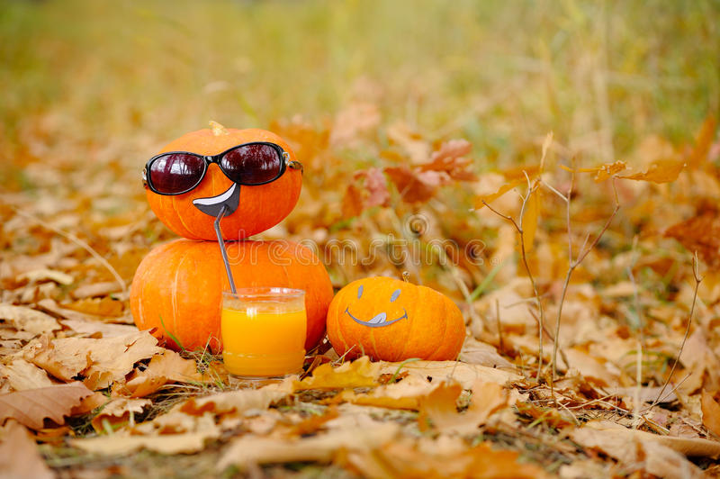 Funny Halloween. Pumpkin in sunglasses drinking juice. stock images