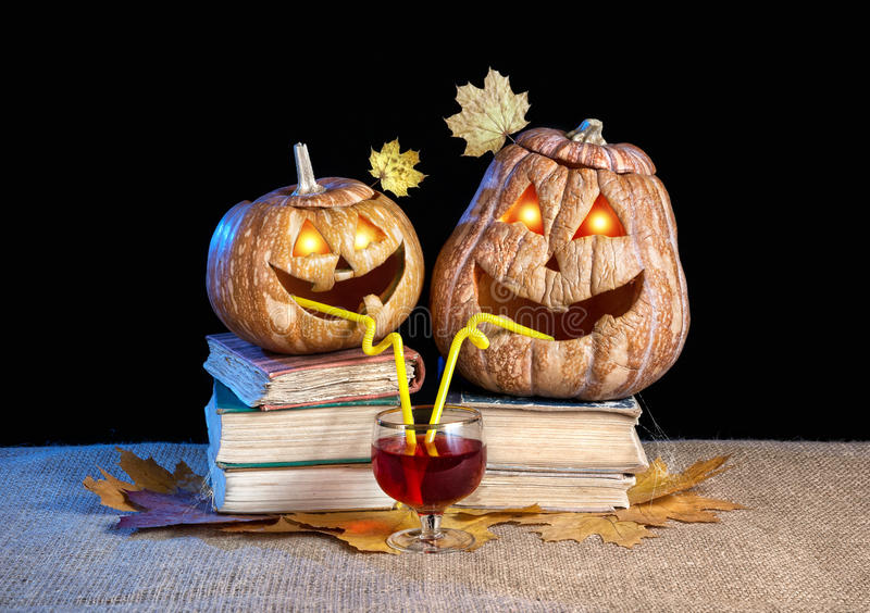 Download Funny Halloween Pumpkins Drinking Wine Stock Photo   Image Of Funny,  Face: 30718238