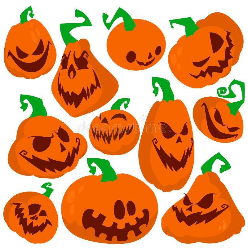 Funny Halloween pumpkins set vector illustration. Simple flat st royalty free illustration