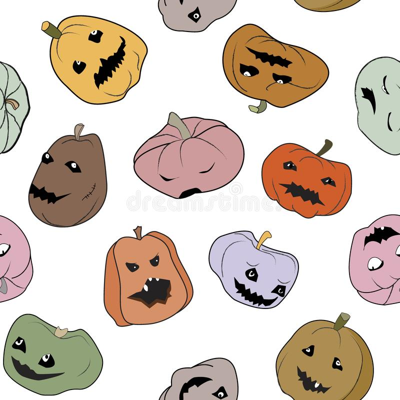 Funny Halloween seamless pattern with pumpkins characters. Different characters, colors, forms, and emotions. Vector stock illustration