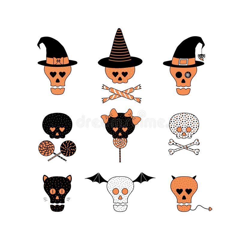 download funny halloween skulls illustration stock vector illustration of flowers human 101011419