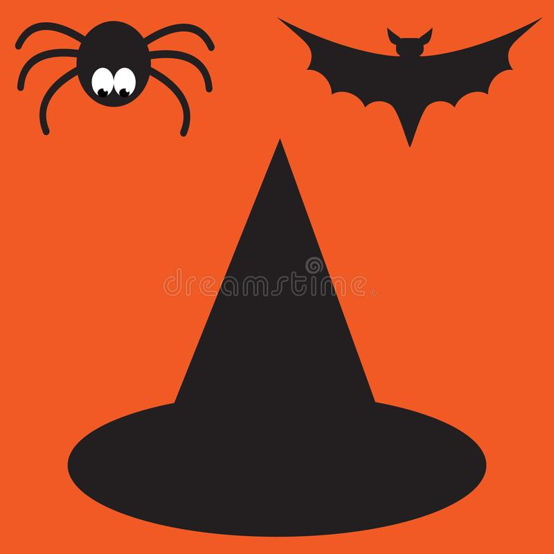 Funny halloween vector mystery vampire silhouettes. Dark spooky bats monsters isolated from orange background. stock illustration