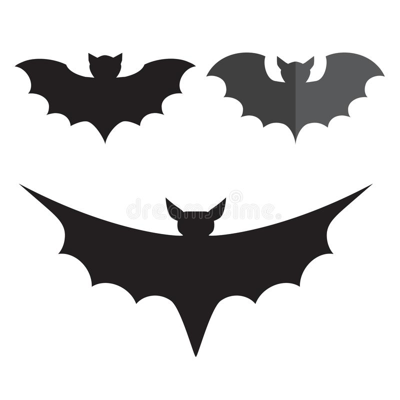 Funny halloween vector mystery vampire silhouettes. Dark spooky bats monsters isolated white background. royalty free illustration