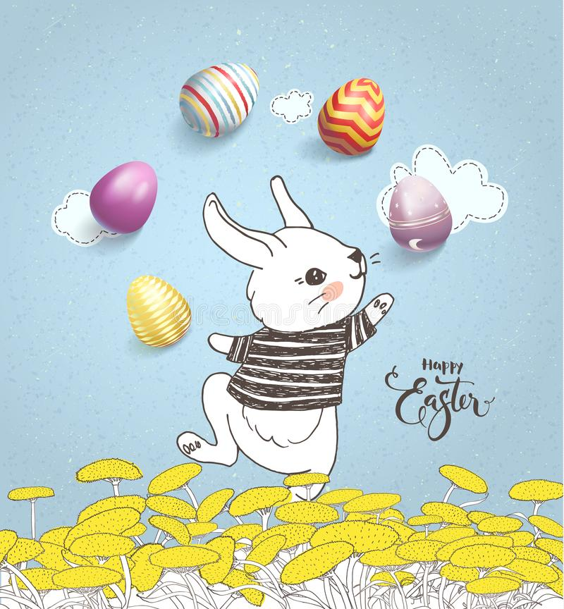 Funny hand drawn baby rabbit wearing striped t-shirt juggling with decorated eggs on floral meadow and Happy Easter stock illustration