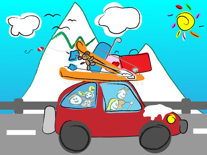 Funny hand drawn family goes on holiday by car wit royalty free illustration